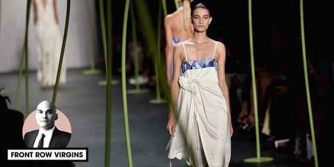 Shoulder, Textile, Joint, Formal wear, Dress, Chest, Waist, Fashion, One-piece garment, Fashion show,