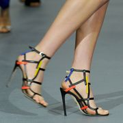 Footwear, Leg, Human leg, Toe, Joint, Red, Sandal, Foot, High heels, Fashion,