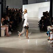 Footwear, Leg, Fashion show, Runway, Style, Fashion model, Dress, Fashion, Luggage and bags, Street fashion,