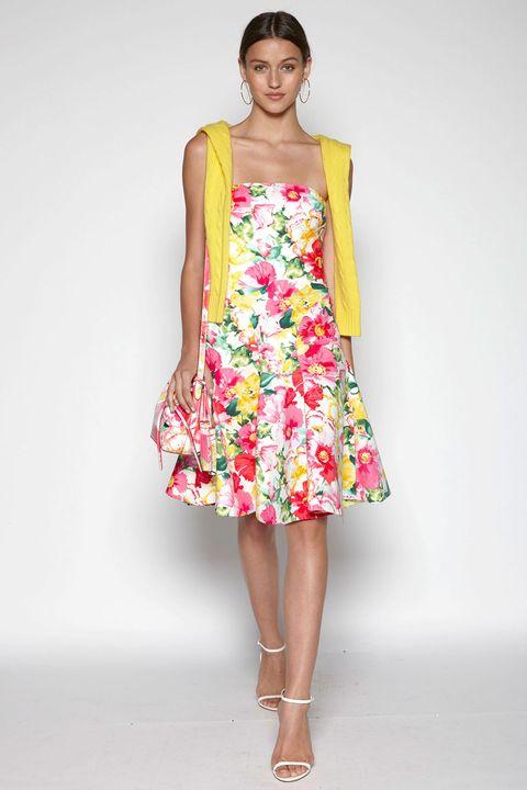 Clothing, Human leg, Shoulder, Textile, Joint, One-piece garment, Pink, Dress, Day dress, Fashion model,