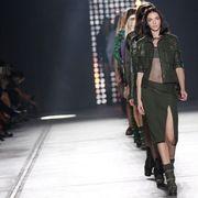 Footwear, Fashion show, Human body, Joint, Runway, Fashion model, Style, Knee, Fashion, Beauty,