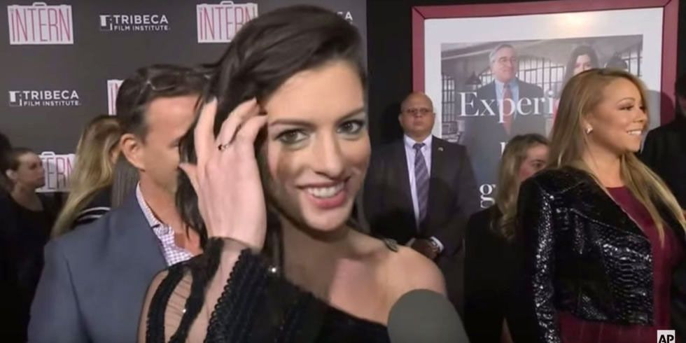 """2. Anne Hathaway caught up with Mariah Carey at a premiere for her film """"The Intern."""" She mentioned she was a big fan of Mariah and listened to """"We Belong Together"""" in the car heading over."""