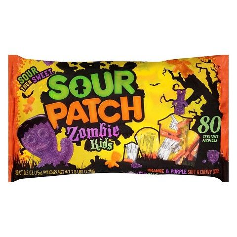 <p>These treats are the same sour-sweet candy you know and love, only in orange and purple—and undead. No word whether they'll come to life and eat your brain, but we're pretty sure you can take them before they can get close to your gray matter.</p>