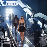 Stage, Pop music, Music venue, Thigh, Fashion model, Model, Concert, Sunglasses, Fashion design, Aerospace engineering,
