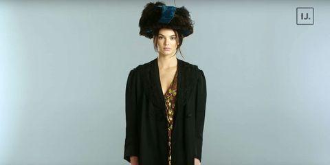 Hairstyle, Sleeve, Collar, Shoulder, Standing, Style, Black hair, Blazer, Costume accessory, Headgear,
