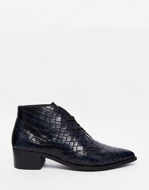 "<p>Bronx Croc Effect Ankle Boots, $171; <a href=""http://us.asos.com/Bronx-Croc-Effect-Ankle-Boots/17a8et/?iid=5452868&cid=6455&sh=0&pge=0&pgesize=204&sort=-1&clr=Navy&totalstyles=402&gridsize=4&mporgp=L0Jyb254L0Jyb254LUNyb2MtRWZmZWN0LUFua2xlLUJvb3RzL1Byb2Qv"">asos.com</a><br></p>"