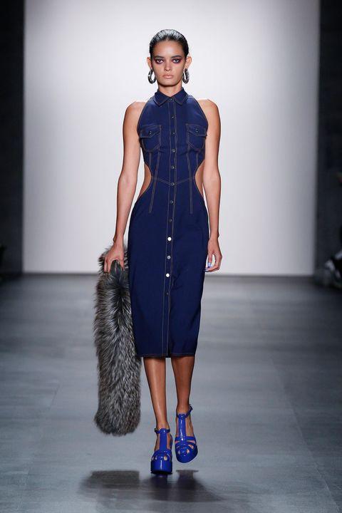 Clothing, Blue, Shoulder, Dress, Joint, Floor, Fashion show, Style, One-piece garment, Waist,