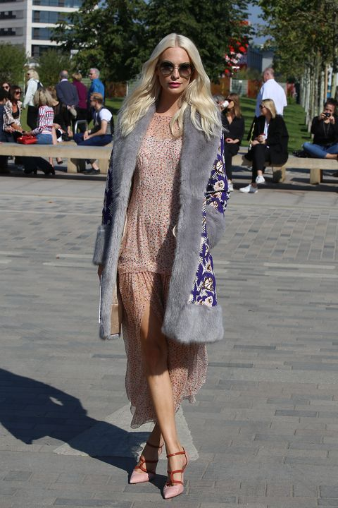 <p>Who: Poppy Delevingne</p><p>When: September 20, 2015</p><p>Why: We're loving Poppy Delevingne's fresh take on Penny Lane of <em>Almost Famous</em>. Upgrading the groupie's shearling coat for a fur-trimmed option and swapping in a flirty peach frock with car wash panels, Delevingne stepped out in yet another outfit we <i>will</i> replicate. </p>