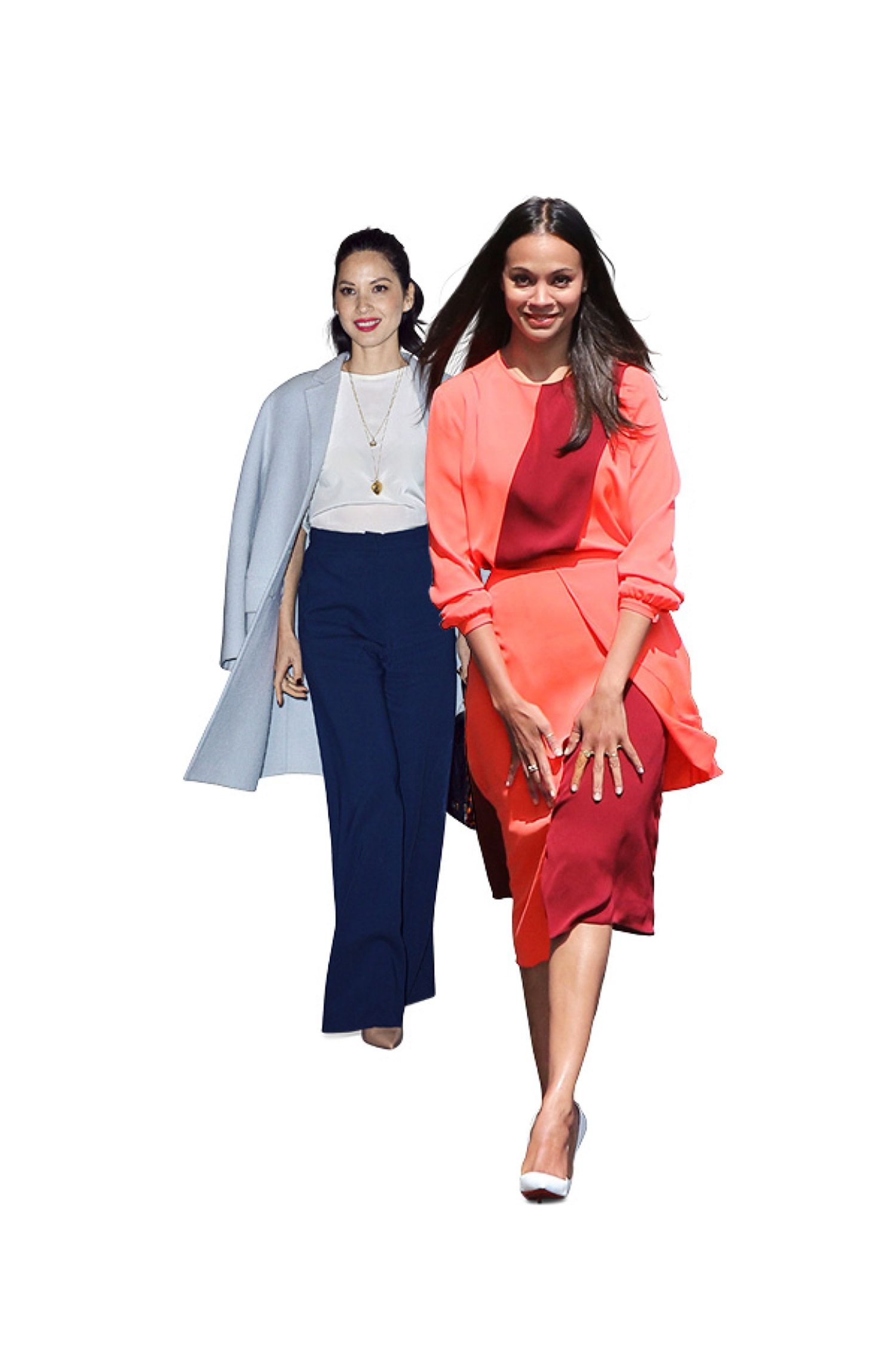 <p>Forget the glitz but not the glamour: This year, Olivia Munn and Zoe Saldana have stood out as two of Hollywood's most polished stars. Saldana keeps it modern in Tanya Taylor colorblocking, while Munn reaches for high-waisted, wide-leg trousers—a far cooler way to accentuate her killer curves than standard skinny jeans.</p>