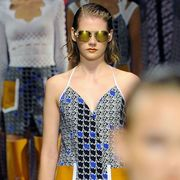 Fashion, Dress, Beauty, Fashion model, Electric blue, Headpiece, Eyelash, Cobalt blue, Model, Day dress,