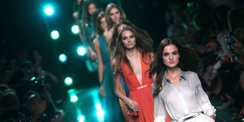 Dress, Fashion show, Fashion model, Fashion, Youth, Long hair, Model, Day dress, One-piece garment, Street fashion,