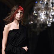 Dress, Red hair, Day dress, One-piece garment, Fashion model, Cocktail dress, Little black dress, Model, Flash photography, Light fixture,