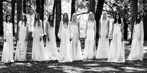 Dress, Photograph, Tree, White, Bridal clothing, Formal wear, Style, Gown, Monochrome photography, Bride,