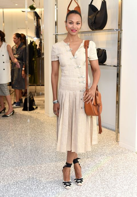 <p>Who: Zoe Saldana</p><p>When: September 24, 2015</p><p>Why: At a Barney's New York luncheon for Altuzarra's new handbag line, Zoe Saldana perfectly encapsulates the brand's cool, uptown style. The soft beige color of the dress and her coordinating accessories are a perfect example of how to transition toward a fall wardrobe. </p>