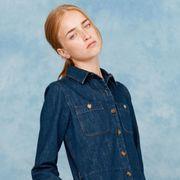 Clothing, Blue, Dress shirt, Collar, Denim, Sleeve, Shoulder, Shirt, Textile, Pocket,