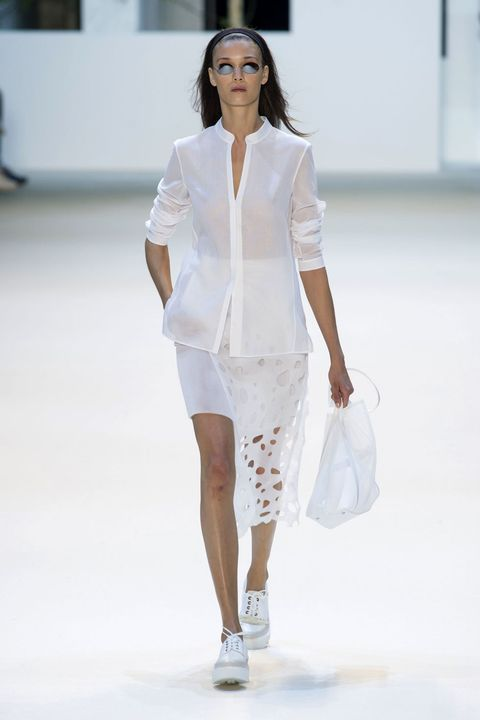 Clothing, Sleeve, Shoulder, Fashion show, Joint, Outerwear, White, Runway, Fashion model, Style,