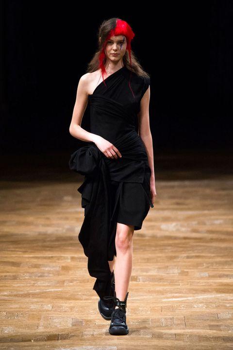 Shoe, Dress, Waist, Knee, Fashion, Black, One-piece garment, Fashion model, High heels, Costume accessory,