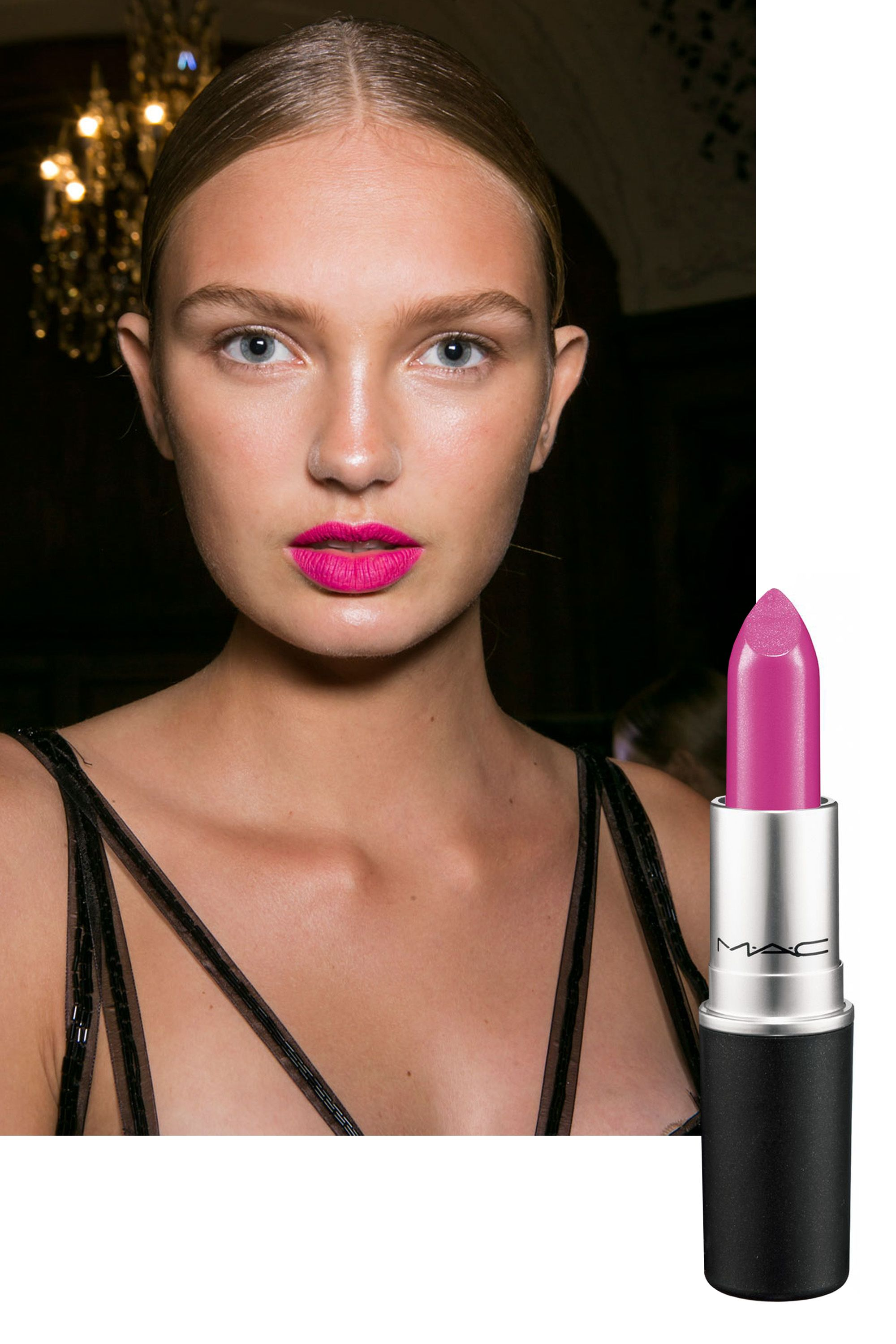"<p>Inspired by the fluffy, pastel finale gowns in the collection, makeup pro Gucci Westman lacquered lips with four different products to achieve the ultimate pop of pink.  </p><p><em>For a similar look in one tube, try <a href=""http://www.maccosmetics.com/product/13854/310/Products/Makeup/Lips/Lipstick/Lipstick?gclid=CPGEweC7ksgCFUqRHwodvY8KNg#/shade/Girl_About_Town?cm_mmc=-_-MAC+-+US+Shopping+Campaign-_-Makeup-_-"" target=""_blank"">MAC Cosmetics Lipstick in Girl About Town</a> ($17).</em></p>"