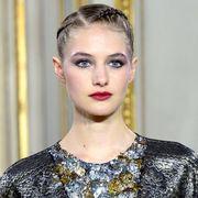 Ear, Lip, Hairstyle, Eyebrow, Eyelash, Eye shadow, Fashion, Beauty, Neck, Street fashion,