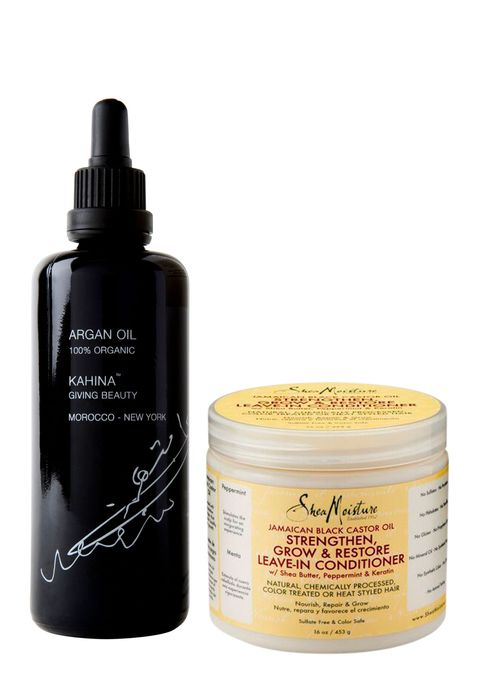 <p>Mega-moisturizing essentials top Brunson's list: Shea Moisture Jamaican Black Castor Oil leave-in conditioner and pure argan oil, such as Kahina Organic 100% Argan Oil.</p>