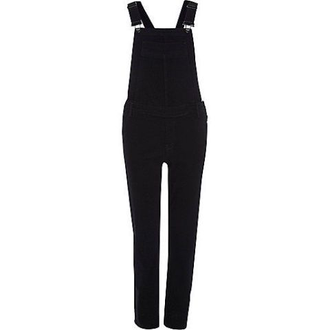 "<p>River Island Black Slim Leg Overalls, $96; <a href=""http://us.riverisland.com/women/playsuits--jumpsuits/dungarees/black-slim-leg-dungarees-672051"">us.riverisland.com</a></p>"