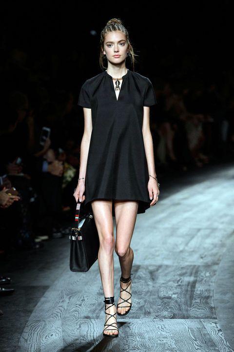 Clothing, Human leg, Shoulder, Fashion show, Dress, Joint, Fashion model, Style, Runway, Street fashion,