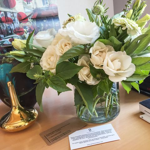 <p>I received these pesticide-free flowers from New York's Gardenia Organic (646-688-5753) and fell in love with the arrangement, which, to my surprise, included mint!</p>