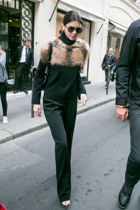 <p>Who: Kendall Jenner</p><p>When: October 04, 2015</p><p>Why: Seen in Paris between catwalk moments, Kendall Jenner went for low-key luxe in a Sally LaPointe cashmere wool turtleneck trimmed with fox fur. She dressed the top down with slouchy pants and a leather backpack by M2Malletier.</p><p><span></span></p>