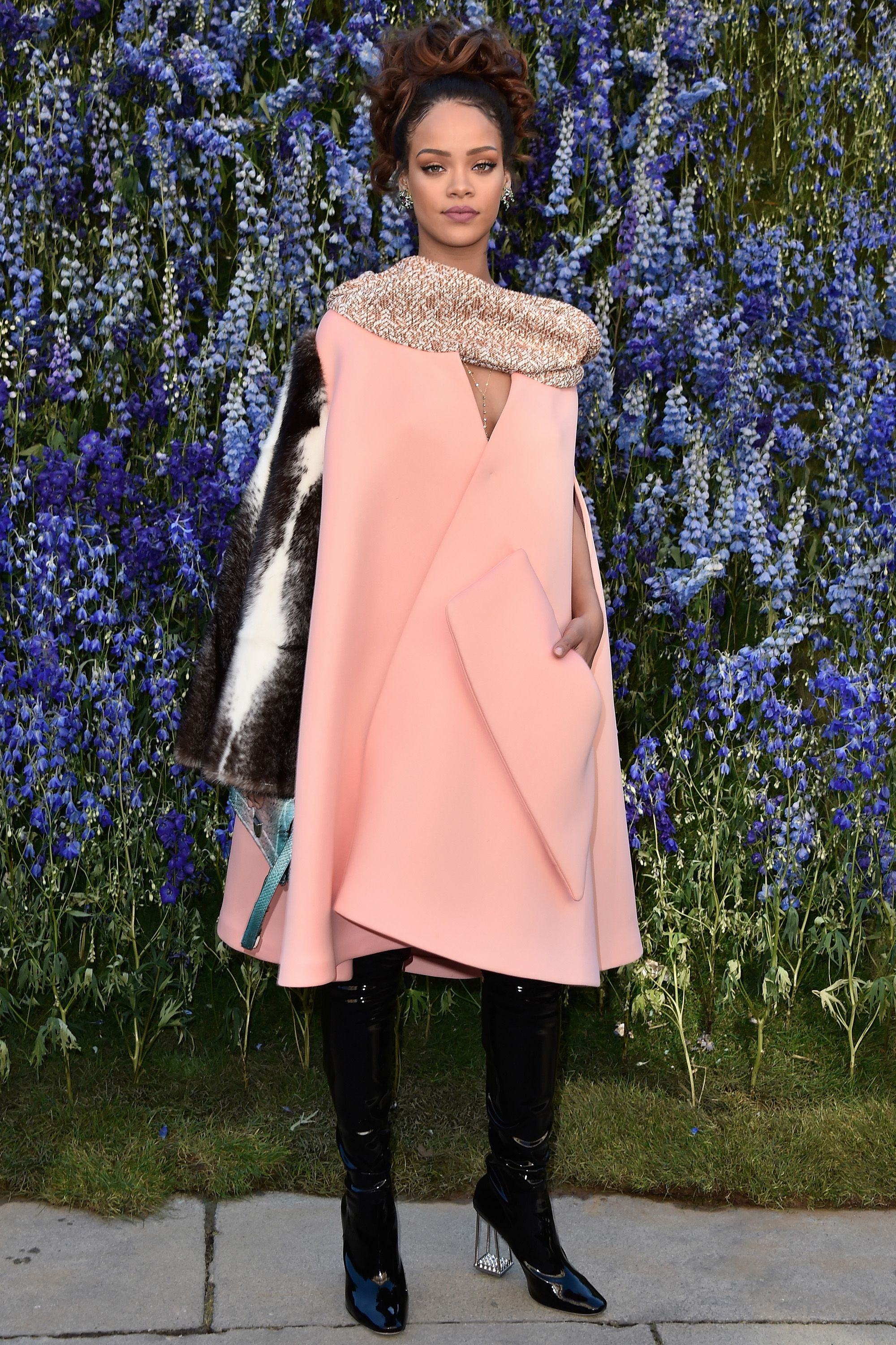 "<p>Who: Rihanna</p><p>When: October 02, 2015</p><p>Why: Spotted at the <a href=""http://www.elle.com/culture/celebrities/news/a30934/rihanna-style-fur-sleeve-coat-dior/"">Dior fashion show</a>, Rihanna rocked a coat as a dress and paired it with those thigh-high patent leather boots we've coveted all season. We can't think of anyone else who could possibly pull off a single fur sleeve like RiRi. </p>"