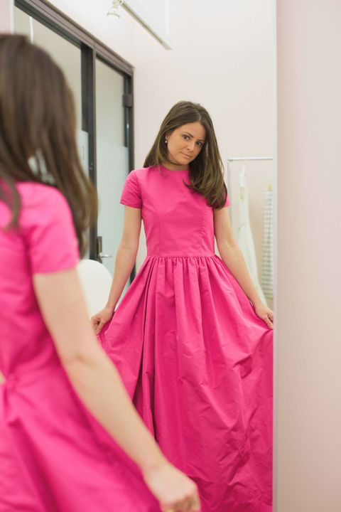 <p>Since I wasn't sure exactly what I wanted, I first tried on dresses from Katie's existing collections. I loved this pink one, because it was like wearing a T-shirt and a dress at the same time. It dropped out of the running though, because it didn't feel quite formal enough.</p>