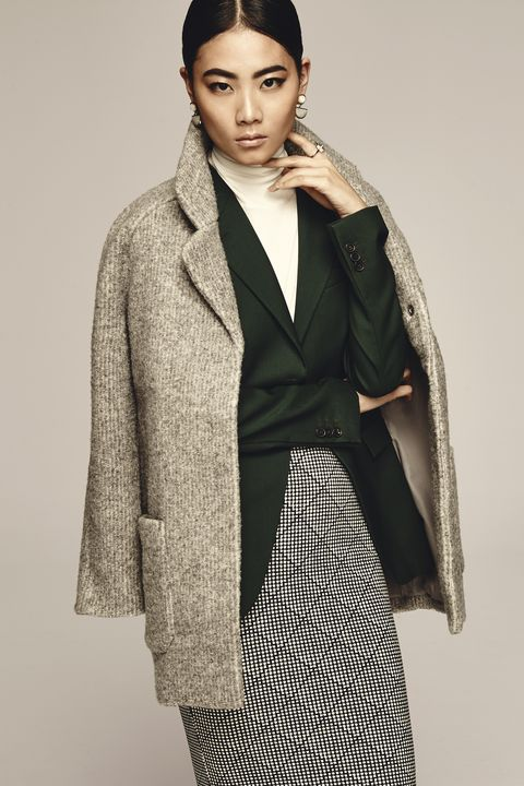"<p>Sure, it's the cool way to wear a coat these days (thanks, street style stars!), but there's another benefit to lazily throwing your coat over your shoulders: You can show off a fitted blazer underneath.</p><p>Old Navy Textured Cocoon Coat, $75, <a href=""http://oldnavy.gap.com/browse/category.do?cid=55474"" target=""_blank"">oldnavy.com</a>; Jil Sander Blazer, $1,910, <a href=""http://store.jilsander.com/us/jil-sander/jacket_cod41581379fx.html"" target=""_blank"">store.jilsander.com</a>; Equipment Oscar Turtleneck Sweater, $320, <a href=""https://www.net-a-porter.com/product/598043/Equipment/oscar-cashmere-turtleneck-sweater"" target=""_blank"">net-a-porter.com</a>; Old Navy Patterned Midi Pencil Skirt, $10, <a href=""https://ad.doubleclick.net/ddm/clk/296862303;123822729;k"" target=""_blank"">oldnavy.com</a>; Efva Attling Bend Over Ring, $8,500, <a href=""http://www.efvaattling.com/bend-over-ring-gold-aquamarine-diamonds/p/1427"" target=""_blank"">efvaattling.com</a>; Lizzie Fortunato Geometry Earrings, $300, <a href=""http://www.neimanmarcus.com/Lizzie-Fortunato/Designers/cat52710755/c.cat"" target=""_blank"">www.neimanmarcus.com</a></p>"
