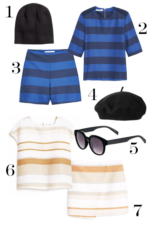 """<p>1. H&M knit hat, $3.99, <a href=""""http://www.hm.com/us/product/81505?article=81505-A"""">hm.com</a>.</p><p>2. Mango blouse, $59.99, <a href=""""http://bit.ly/1LJECDv"""">shop.mango.com</a>.</p><p>3. Mango shorts, $59.99, <a href=""""http://bit.ly/1LJEzYo"""">shop.mango.com</a>.</p><p>4. Urban Outfitters wool beret, $30, <a href=""""http://bit.ly/1MxeIYT"""">topshop.com</a>.</p><p>5. Topshop velvet sunglasses, $35, <a href=""""http://bit.ly/1OvnRCS"""">topshop.com</a>.</p><p>6. Mango blouse, $49.99, <a href=""""http://bit.ly/1OvnLLl"""">shop.mango.com</a>.</p><p>7. Mango skirt, $59.99, <a href=""""http://bit.ly/1Ljn3eq"""">shop.mango.com</a>.</p>"""