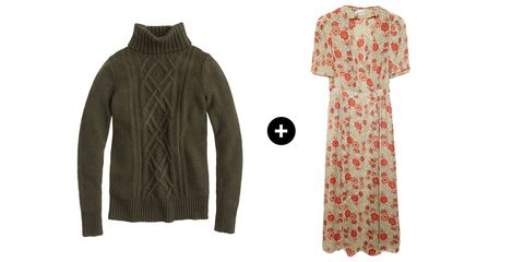 "<p>It might seem unnatural to wear a heavy sweater under a sundress, but don't you want to pack some mileage into those floral frocks? A cable knit sweater is a unique way to add some style and warmth this season. </p><p>J.Crew Cambridge Cable Turtleneck Sweater, $98; <u><a href=""https://www.jcrew.com/womens_special_sizes/xxs/sweaters/PRDOVR~B2795/B2795.jsp"" target=""_blank"">jcrew.com</a></u><br></p><p><u><a href=""https://www.jcrew.com/womens_category/sweaters/Turtlenecks/PRDOVR~B2795/B2795.jsp""></a></u>Isabel Marant Etoile Shania Floral Wrap Dress, $630; <a href=""http://www.lagarconne.com/store/item/90-24-/32593/Isabel-Marant-Etoile-Shania-Floral-Wrap-Dress.htm#image_tiger_4"" target=""_blank""><u>lagarconne.com</u></a></p>"