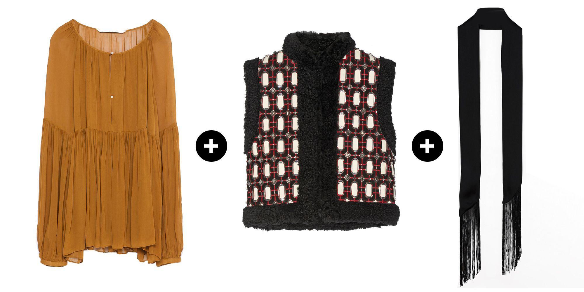 "<p>Top that airy blouse you wore all summer long with a heavy shearling vest and add our favorite new accessory: the skinny scarf. </p><p>Zara Voluminous Shirt, $40&#x3B; <a href=""http://www.zara.com/us/en/woman/tops/blouses/voluminous-shirt-c763513p2810590.html"" target=""_blank""><u>zara.com</u></a><br></p><p>Gucci Embellished Shearling-Trimmed Suede Gilet, $5,700&#x3B; <a href=""http://www.net-a-porter.com/us/en/product/570825"" target=""_blank""><u>net-a-porter.com</u></a></p><p>ASOS Long Skinny Scarf, $15&#x3B; <a href=""http://us.asos.com/asos/asos-long-skinny-scarf-in-black-with-fringing/prod/pgeproduct.aspx?iid=5078448&clr=Black&SearchQuery=skinny+scarf&pgesize=36&pge=0&totalstyles=57&gridsize=3&gridrow=2&gridcolumn=2"" target=""_blank""><u>us.asos.com</u></a></p>"