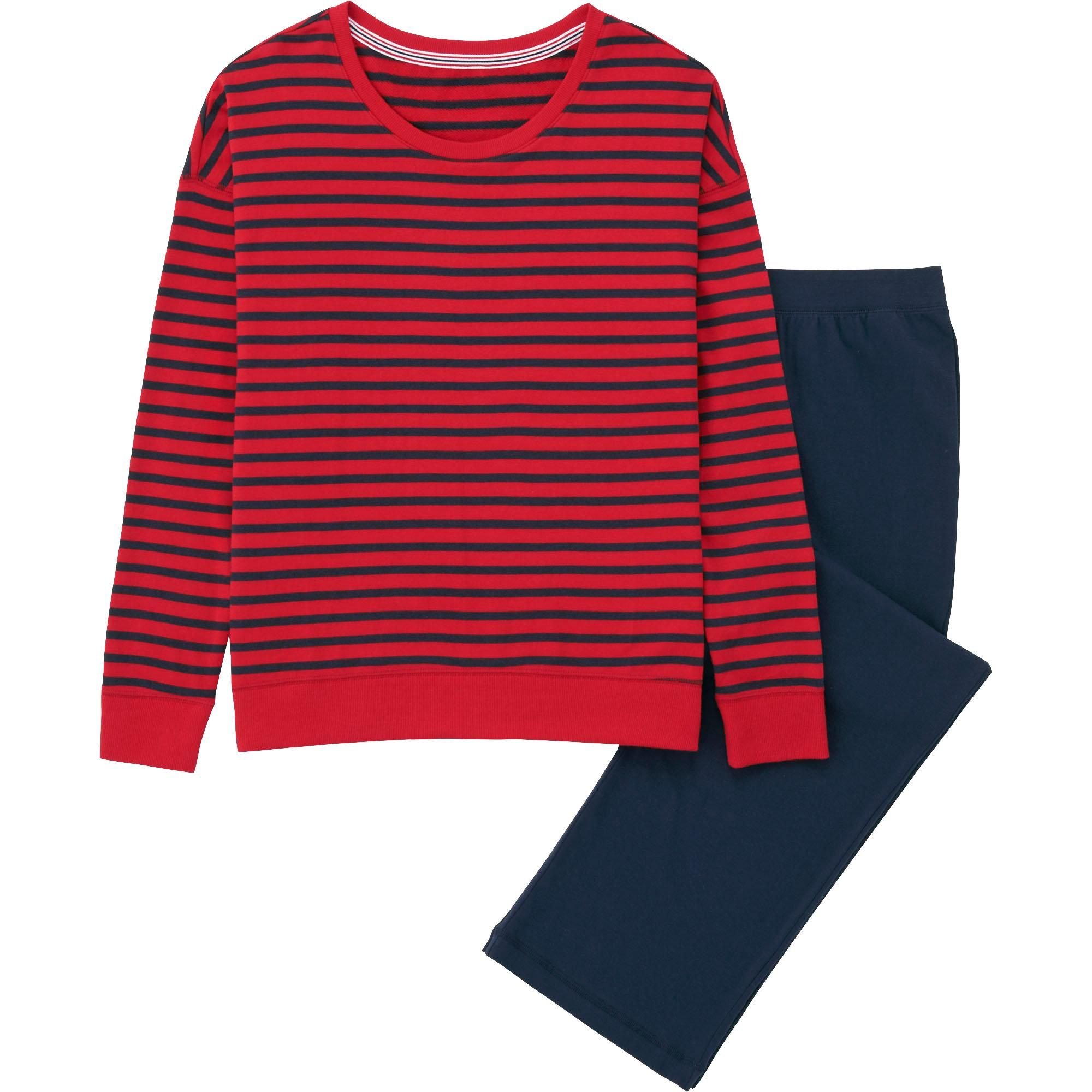 "<p>Uniqlo Women Sweat Set, $20; <a href=""http://www.uniqlo.com/us/product/women-sweat-set-long-sleeve-stripe-151868.html#16~/women/intimates-and-loungewear/pajamas/sweat-sets/~"">uniqlo.com</a></p>"