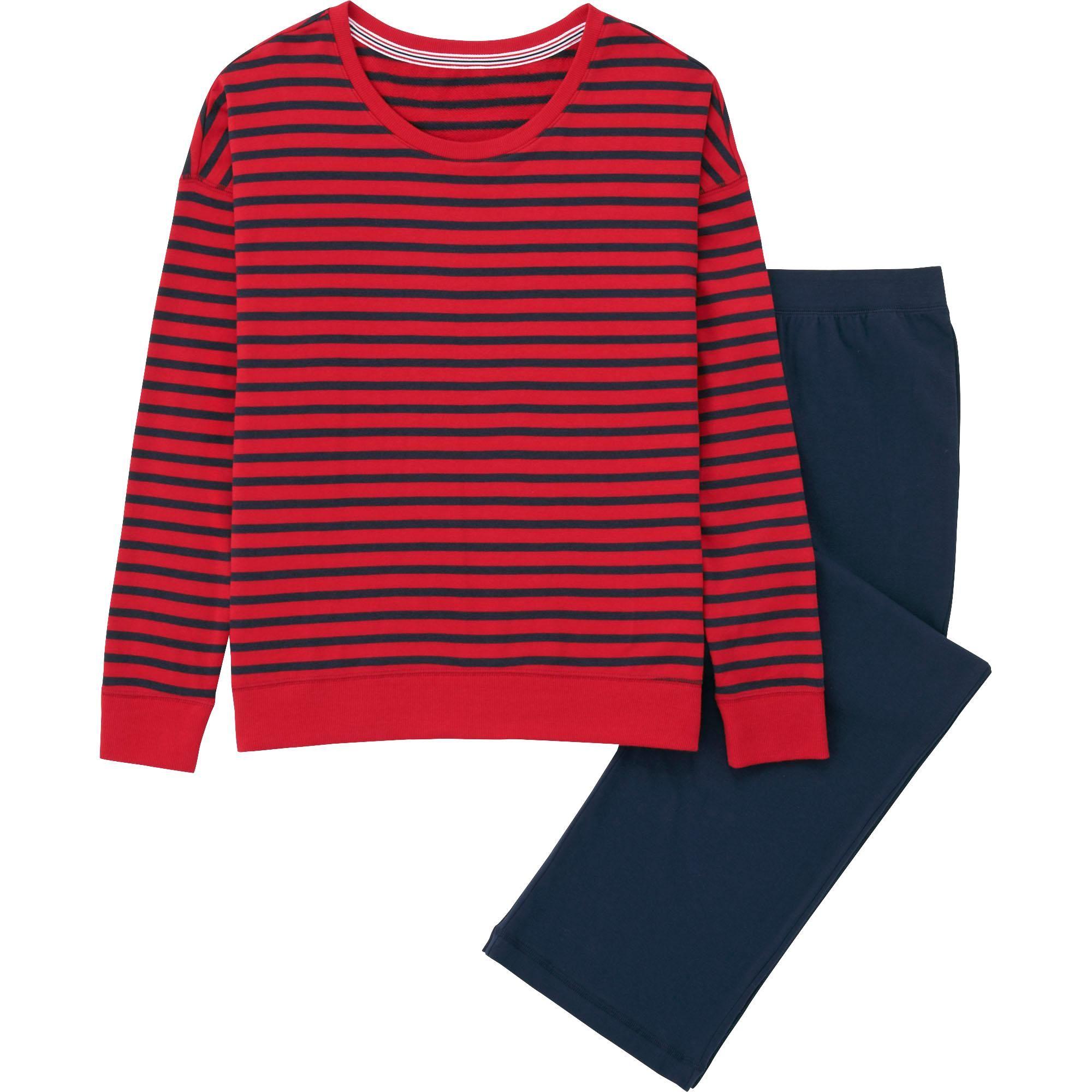 """<p>Uniqlo Women Sweat Set, $20; <a href=""""http://www.uniqlo.com/us/product/women-sweat-set-long-sleeve-stripe-151868.html#16~/women/intimates-and-loungewear/pajamas/sweat-sets/~"""">uniqlo.com</a></p>"""