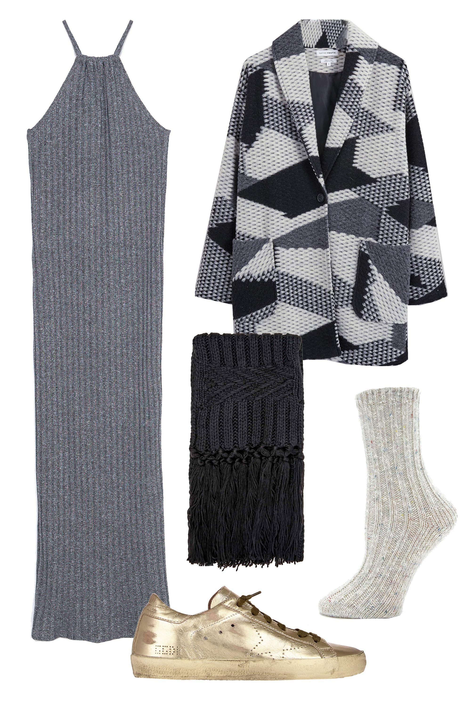 "<p>Zara Long Striped Dress, $30; <a href=""http://www.zara.com/us/en/woman/knitwear/dresses/long-striped-dress-c689006p2891573.html"" target=""_blank""><u>zara.com</u></a></p><p>Native Youth Geo Jacquard Coat, $240; <u><a href=""http://www.native-youth.com/geo-jacquard-coat"" target=""_blank"">native-youth.com</a></u></p><p>Topshop Cable Knit Scarf, $30; <a href=""http://us.topshop.com/en/tsus/product/bags-accessories-1702229/scarves-70520/cable-knit-scarf-4804619?bi=0&ps=200"" target=""_blank""><u>topshop.com</u></a></p><p>Golden Goose Superstar Sneakers, $550; <a href=""http://www.barneys.com/golden-goose-superstar-sneakers-503447429.html#sz=248&pageviewchange=true&start=146"" target=""_blank""><u>barneys.com</u></a></p><p>Forever 21 Speckled Marled Socks, $5; <u><a href=""http://www.forever21.com/Product/Product.aspx?BR=f21&Category=acc_legwear&ProductID=2000140693&VariantID="" target=""_blank"">forever21.com</a></u></p>"
