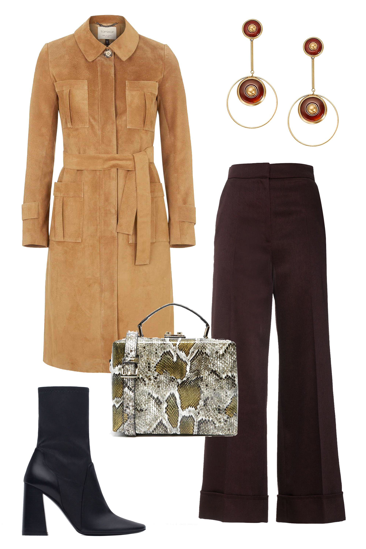 "<p>Topshop Premium Suede Trench Coat, $500; <a href=""http://us.topshop.com/en/tsus/product/clothing-70483/jackets-4680211/real-suede-trench-coat-4455100?bi=0&ps=200"" target=""_blank""><u>topshop.com</u></a></p><p>Zara Leather High Heel Ankle Boots, $159; <a href=""http://www.zara.com/us/en/woman/shoes/view-all/leather-high-heel-ankle-boots-c734142p2994019.html"" target=""_blank""><u>zara.com</u></a></p><p>Whistes Margot Cropped Wide Leg, $320; <a href=""http://www.whistles.com/women/limited-edition/trousers/margot-cropped-wide-leg-20535.html?dwvar_margot-cropped-wide-leg-20535_color=Burgundy#start=1"" target=""_blank""><u>whistles.com</u></a></p><p>ASOS Structured Box Shoulder Bag, $72; <a href=""http://us.asos.com/ASOS-Structured-Box-Shoulder-Bag/170vjk/?iid=5409981&cid=8730&sh=0&pge=2&pgesize=204&sort=-1&clr=Snake&totalstyles=933&gridsize=3&mporgp=L0FTT1MvQVNPUy1TdHJ1Y3R1cmVkLUJveC1TaG91bGRlci1CYWcvUHJvZC8."" target=""_blank""><u>asos.com</u></a></p><p>Tory Burch Semiprecious Stone Drop Earring, $295; <u><a href=""http://www.toryburch.com/semiprecious-stone-drop-earring/33155542.html?cgid=accessories-jewelry&dwvar_33155542_color=963&start=12"" target=""_blank"">toryburch.com</a></u></p>"