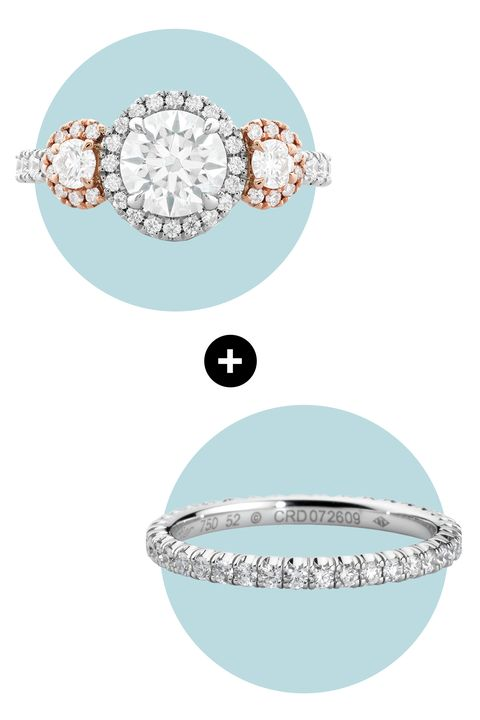 "<p>A large center stone, mid-size smaller stones, and a series of pavé diamonds play with scale perfectly. If you already have not one but three rocks to show off, keep the jewels on your accompanying band petite for balance. </p><p><em>Integrity Hearts on Fire Three Stone Engagement Ring, <a href=""http://www.heartsonfire.com/shop-jewelry/rings/engagement-rings/integrity-hof-three-stone-engagement-ring.aspx#mz2CM4XCtBm0Yjpi.97"" target=""_blank"">heartsonfire.com</a>; </em><em>Cartier Classic Wedding Band, </em><a href=""http://www.cartier.us/en-us/collections/engagement/wedding-bands/classic-wedding-bands/b4210400-wedding-band.html"" target=""_blank""><em>cartier.com</em></a></p>"