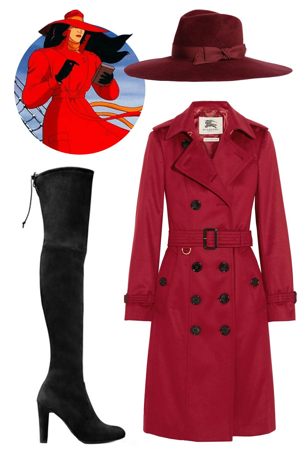 "<p>""I'd go for the international thieving villain, Carmen Sandiego: A red trench coat, matching fedora, and black boots.""</p><p>Burberry London Brushed Cashmere Trench Coat, $2,795; <a href=""http://www.net-a-porter.com/us/en/product/608442/Burberry_London/brushed-cashmere-trench-coat"">net-a-porter.com</a><br>Stuart Weitzman The Highland Boots, $798; <a href=""http://www.stuartweitzman.com/products/highland/?DepartmentId=759&DepartmentGroupId=1&ColMatID=16146"">stuartweitzman.com</a><br>Preston and Olivia Ashby Wide Brim Fedora, $210; <a href=""http://prestonandolivia.com/collections/women/products/ashby-15?variant=5280358211"">prestonandolivia.com</a></p>"