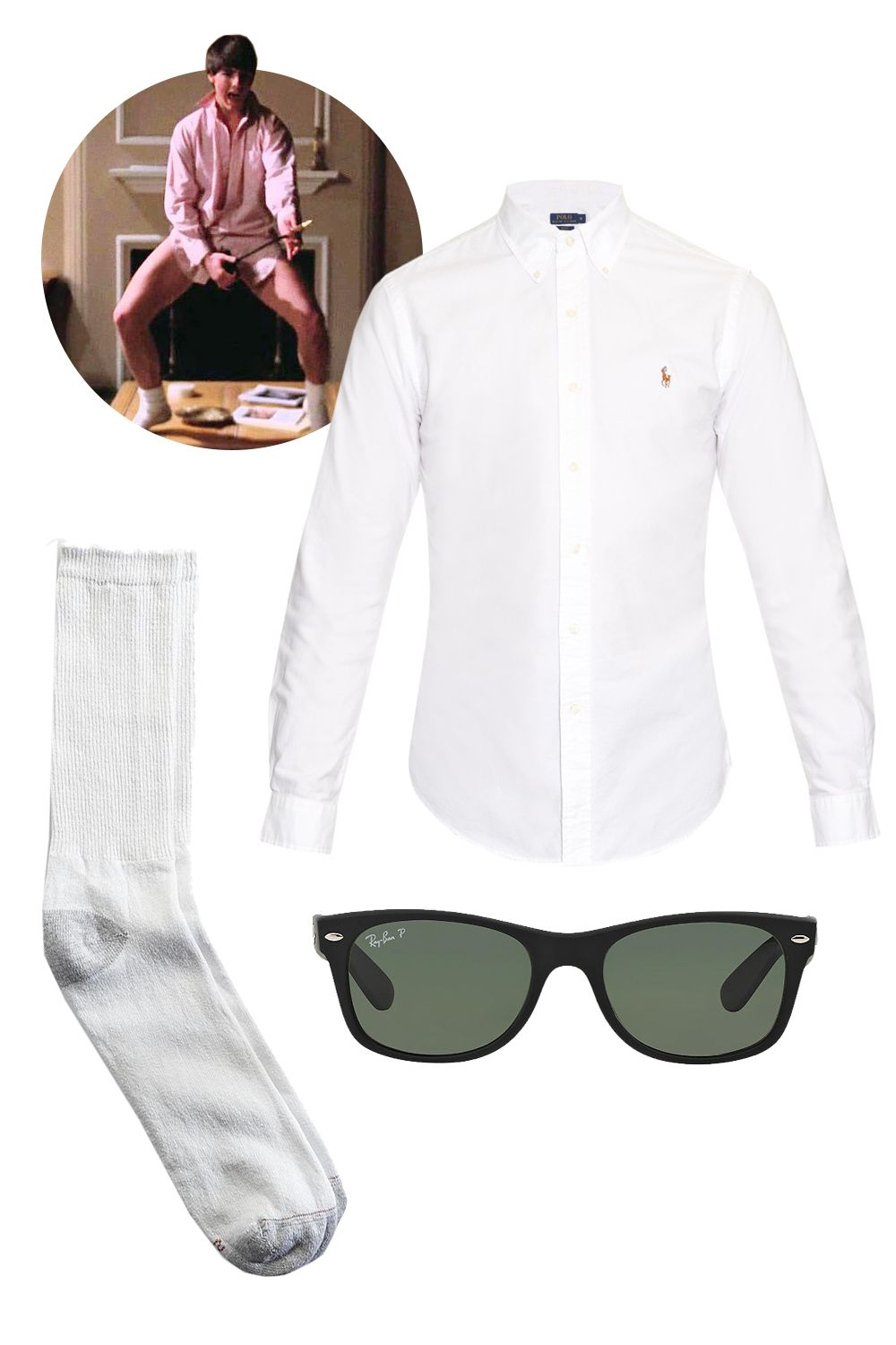 "<p>""My last-minute Halloween costume is always Tom Cruise from the famous <em>Risky Business</em> scene: An oversize men's shirt, sunglasses, and white tube socks.""</p><p>Polo Ralph Lauren Slim-Fit Oxford Shirt, $90; <a href=""http://www.matchesfashion.com/us/products/Polo-Ralph-Lauren-Slim-fit-oxford-shirt-1008683#"">matchesfashion.com</a><br>Hanes Men Sport Crew Socks, $7; <a href=""http://www.kmart.com/hanes-men-39-s-sport-crew-sock-white-6/p-9990000020951211P"">kmart.com</a><br>Ray-Ban New Wayfarer, $180; <a href=""http://www.sunglasshut.com/us/8053672131581"">sunglasshut.com</a> </p>"