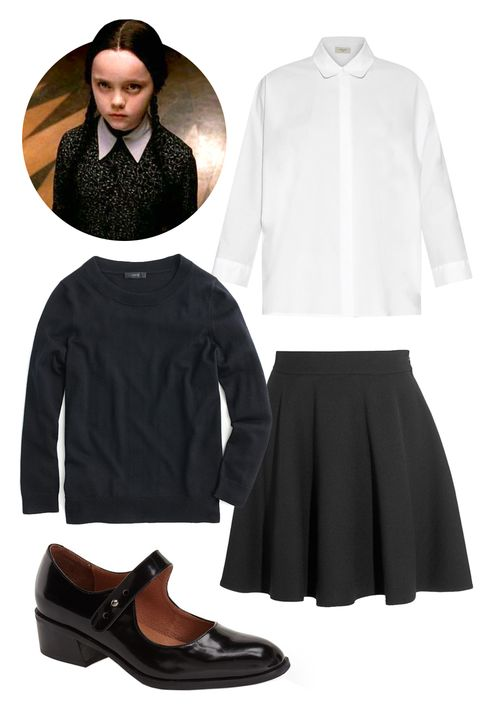 """<p>""""Wednesday Addams from <em>The Addams Family</em>! All you need are some basics, braided pigtails, and some major RBF.""""</p><p>J. Crew Tippi Sweater, $80; <a href=""""https://www.jcrew.com/womens_feature/NewArrivals/sweaters/PRDOVR~E1277/E1277.jsp?color_name=BLACK&styles=E1277-BK0001&color_name=BLACK&styles=E1277-BK0001"""">jcrew.com</a><br>Miu Miu A-Line Wool-Crepe Mini Skirt, $930; <a href=""""http://www.net-a-porter.com/us/en/product/595700"""">net-a-porter.com</a><br>Weekend Max Mara Kassel Shirt, $235; <a href=""""http://www.matchesfashion.com/us/products/Weekend-Max-Mara-Kassel-shirt--1014884#"""">matchesfashion.com</a><br>Jeffrey Campbell Maribel Mary Jane Pump, $150; <a href=""""http://shop.nordstrom.com/s/maribel-mary-jane/4092177?cm_mmc=Google_Product_Ads_pla_online-_-datafeed-_-women:shoes:pumps-_-1164928&gclid=CNqw6Z775cgCFc-RHwod7WABbg&mr:referralID=14973429-7daf-11e5-9cda-005056941669"""">shop.nordstrom.com</a> </p>"""