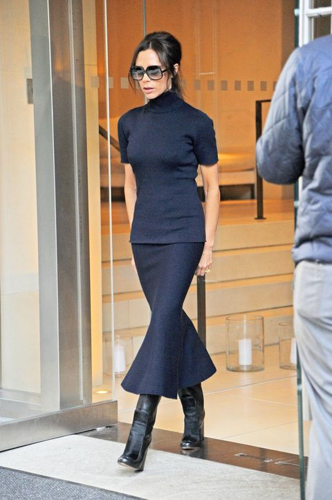 <p>Who: Victoria Beckham</p><p>When: October 27, 2015</p><p>Why: Victoria Beckham's all-black uniform is simple, but always classic. Clearly, the designer is her brand's best advertisement, because now I definitely feel like living in a short-sleeve turtleneck, flippy midi skirt, and mid-calf boots from here on out.</p>