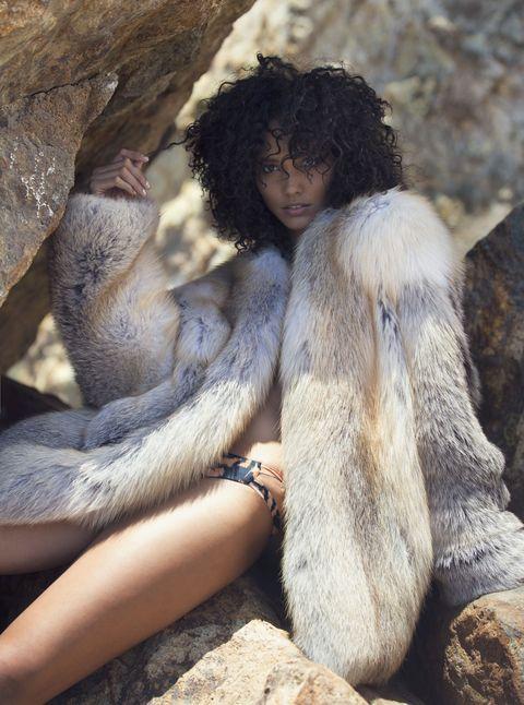"<p>Derek Lam Fox Fur Coat, Price on Request; at Derek Lam, NYC. Beach Riot Elastane-Blend Bikini Bottom, $75; <a href=""http://beachriot.com/"">beachriot.com</a></p>"