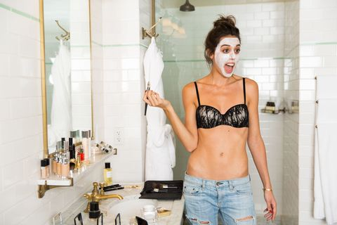 "<p>Violette begins with a face mask. ""I have a crazy beauty routine it's like my religion. I love using Dior Prestige La Crème as a treatment mask. Prepping your skin brings a glow to your face and makes your makeup last longer.""</p>"