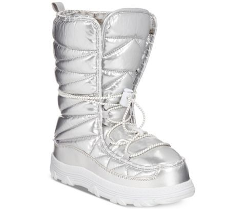 "<p>Khombu Sasha Lace-Up Cold Weather Moon Booties, $84; <u><a href=""http://www1.macys.com/shop/product/khombu-sasha-lace-up-cold-weather-moon-booties?ID=2387364&CategoryID=25122&LinkType=&swatchColor=Silver#fn=PAGEINDEX%3D3%26sp%3D3%26spc%3D173%26slotId%3D138%26kws%3Dwinter%20boot"" target=""_blank"">macys.com</a></u></p>"