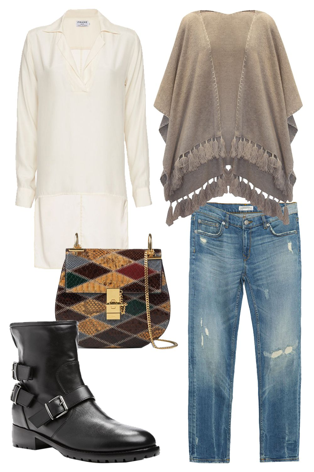 """<p>White + Warren Cashmere Two Way Tassel Poncho, $385; <a href=""""http://rstyle.me/n/bdupdnbc6jf"""">whiteandwarren.com</a></p><p>Frame Hi/Lo Silk Tunic, $248; <a href=""""http://rstyle.me/~6Ppn9"""">intermixonline.com</a></p><p>Chloe Drew Bag in Python Patchwork, $3,990; <a href=""""http://www.lyst.com/bags/chloe-patchwork-drew-bag/"""">lyst.com</a></p><p>Zara Mid-Rise Cigarette Jeans, $70; <a href=""""http://www.zara.com/us/en/woman/jeans/view-all/mid-rise-cigarette-jeans-c733918p3012551.html"""">zara.com</a></p><p>Giuseppe Zanotti Black Leather Side Buckled Moto Boot, $1,075; <a href=""""http://rstyle.me/n/6shafbc6jf"""">modaoperandi.com</a></p>"""