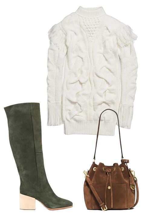 "<p>Coach Patchword Aran Dress, $995; <a href=""http://rstyle.me/n/bdupj5bc6jf"">coach.com</a></p><p>Rachel Comey Fisk Brushed Leather Wood Block Heel Boot, $575; <a href=""http://rstyle.me/n/bdupmdbc6jf"">matchesfashion.com</a></p><p>Michael Kors Greenwich Suede Bucket Bag, $298; <a href=""http://rstyle.me/n/bdupnnbc6jf"">michaelkors.com</a></p>"
