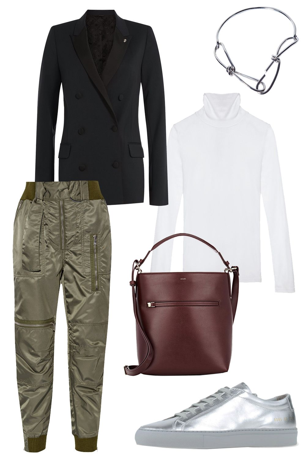 """<p>3.1 Phillip Lim Belted Shell Tapered Flight Pants, $494; <a href=""""http://rstyle.me/n/bdupuebc6jf"""">net-a-porter.com</a><br></p><p>Zadig & Voltaire Blazer, $565; <a href=""""http://rstyle.me/n/bdupqsbc6jf"""">stylebop.com</a></p><p>Cuyana Long Sleeve Turtleneck Tee, $55; <a href=""""http://www.cuyana.com/long-sleeve-turtleneck-tee-black-1705.html"""">cuyana.com</a></p><p>Annelise Michelson Bondage Choker, $814; <a href=""""http://annelisemichelson-eshop.com/?product=dechainee-choker"""">annelisemichelson-eshop.com</a></p><p>A.L.C. Luke Bucket Bag, $595; <a href=""""http://rstyle.me/n/bdupvebc6jf"""">barneys.com</a><br></p><p>Common Projects Achilles Retro Metallic Leather Sneakers, $435; <a href=""""http://rstyle.me/n/bdupxabc6jf"""">net-a-porter.com</a></p>"""