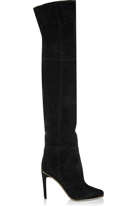 Boot, Costume accessory, Black, Leather, Knee-high boot, Synthetic rubber, Fashion design,